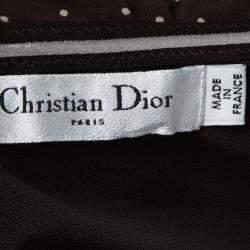 Dior Brown Polka Dot Print Silk Ruched Panel Detail Strapless Dress S