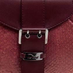 Dior Burgundy Python and Leather Shoulder Bag