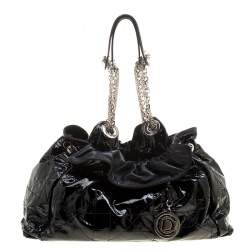 Dior Black Cannage Patent Leather Le Trente Hobo