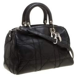 Dior Black Cannage Leather Granville Polochon Satchel