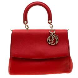 Dior Red Leather Medium Be Dior Top Handle Bag