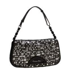 Dior Black Embellished Calfhair Maris Pearl Shoulder Bag