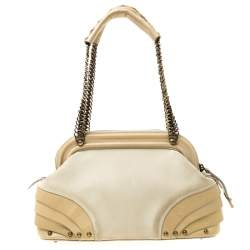 Dior Beige Nubuck Leather Jeanne Small Frame Satchel