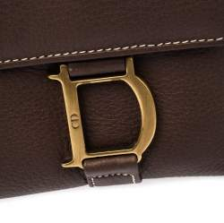 Dior Brown Leather Long Flap Wallet