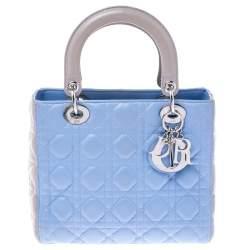 Dior Light Blue/Grey Leather Medium Lady Dior Tote