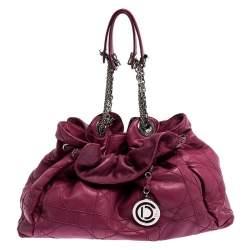 Christian Dior Magenta Cannage Leather Le Trente Shoulder Bag