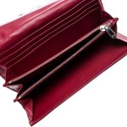 Dior Burgundy Quilted Cannage Satin Charming Lock Continental Wallet