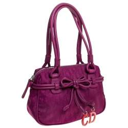 Dior Purple Monogram Nylon and Leather Bow Shoulder Bag