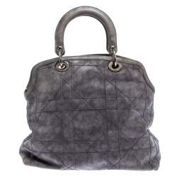 Dior Grey Cannage Quilted Leather Granville Tote