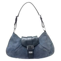 Dior Blue Denim Lady's Corduroy Blues Shoulder Bag