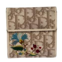 Dior Multicolor Embroidered Diorissimo Coated Canvas Flap Compact Wallet