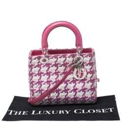 Dior Pink/Silver Tweed and Leather Medium Lady Dior Tote