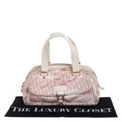 Dior Pink/Off White Canvas  Romantique Satchel