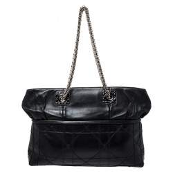 Dior Black Cannage Leather Granville Chain Link Tote