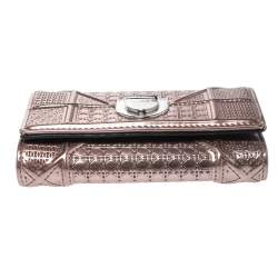 Dior Metallic Rose Gold Micro Cannage Patent Leather Diorama Trifold Wallet