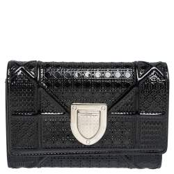 Dior Black Micro Cannage Patent Leather Diorama Trifold Wallet