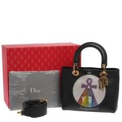 Dior Black Leather Judgement Handpainted Lady Dior Tote
