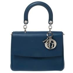Dior Blue Leather Small Be Dior Flap Top Handle Bag