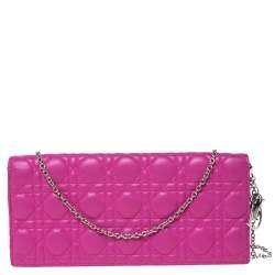 Dior Pink Cannage Leather  Lady Dior Chain Clutch