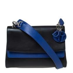 حقيبة كتف ديور قلاب مزدوج بى ديور جلد زرقاء / سوداء