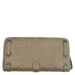 Dior Champagne Gold Leather Zip Around Wallet