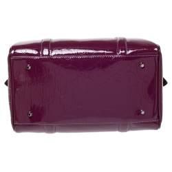Dior Purple Monogram Patent Leather Boston Bag