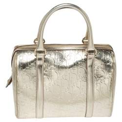 Dior Metallic Gold Oblique Monogram Leather Boston Bag