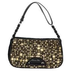 Dior Black/Gold Embellished Calfhair Maris Pearl Shoulder Bag