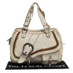 Dior Pale Green Gaucho Leather Large Double Saddle Shoulder Bag
