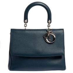 Dior Navy Blue Leather Large Be Dior Flap Top Handle Bag