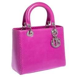 Dior Pink Python Medium Lady Dior Tote