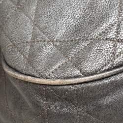 Dior Metallic Grey Cannage Leather Drawstring Shoulder Bag