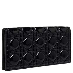 Dior Black Cannage Patent Leather Lady Dior Chain Clutch