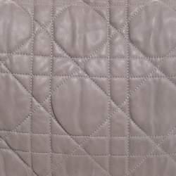 Dior Grey Leather Delices Gaufre Flap Shoulder Bag