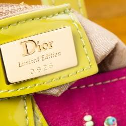 Dior Multicolor Velvet/Nylon and Leather Limited Edition Pom Pom Embellished Saddle Bag