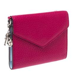 Dior Magenta Leather Flap Compact Wallet