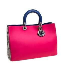 Dior Pink/Blue Leather and Python Large Diorissimo Shopper Tote
