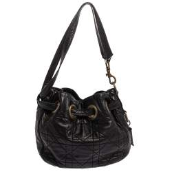 Dior Black Cannage Leather Miss Dior Drawstring Bag