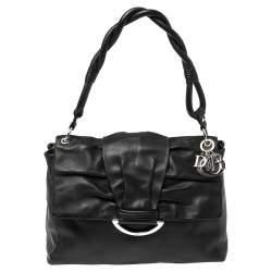 Dior Black Soft Leather Demi Lune Shoulder Bag