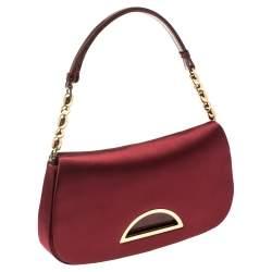 Dior Burgundy Satin Malice Shoulder Bag