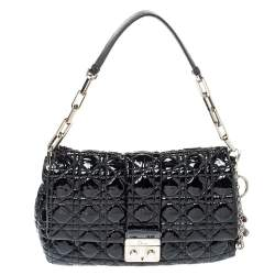Dior Black Cannage Patent Leather New Lock Flap Bag
