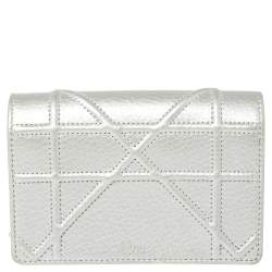 Christian Dior Silver Grained Leather Diorama Pouch Wallet on Chain