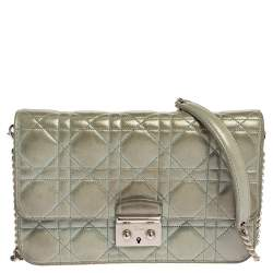 Dior Light Blue Cannage Shimmering Leather Miss Dior Promenade Pouch