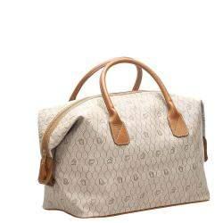 Dior Beige/Brown Honeycomb Coated Canvas Travel Bag