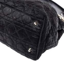 Dior Black Cannage Nylon and Leather Charming Lock Satchel
