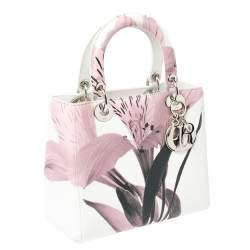 Dior White/Pink Floral Print Leather Medium Lady Dior Tote