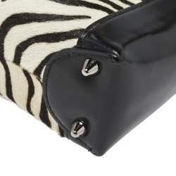 Dior Black/White Patent Leather and Calf Hair Zebra Print Vintage Mini Lady Dior Tote