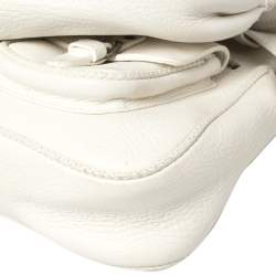 Dior White Leather Gaucho Alpine Saddle Bag
