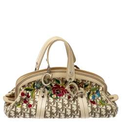 Dior Beige Diorissimo Canvas Flowers Embroidered Frame Satchel