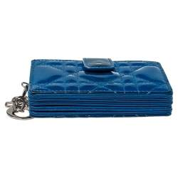 Dior Blue Cannage Patent Leather Lady Dior Gusset Card Case